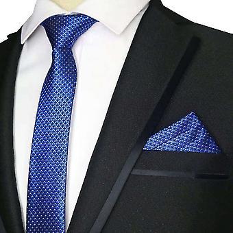 Blue & white ditsy cross skinny tie & pocket square set