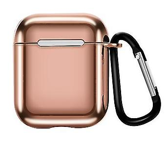 2Pcs rose gold suitable for airpods1/2 generation electroplating tpu protective sleeve apple bluetooth wireless headset case with carabiner az15645