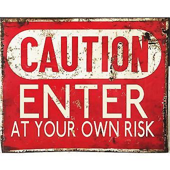 Vintage metall tecken varning gå in på egen risk