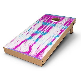 Running Blue And Pink Watercolor Paint Cornhole Board Skin Decal Kit