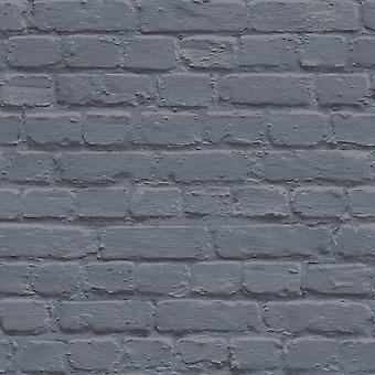Ugepa Painted Brick Blue Wallpaper L22601