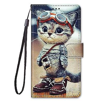 Case For Xiaomi Redmi Note 8 Painted Leather Cover Magnetic Closure Kitten