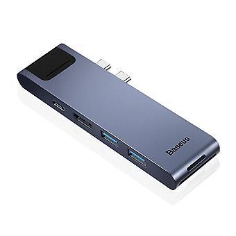 Dual USB C HUB To USB 3.0 HDMI SD TF Card Reader RJ45 Adapter PD Charging USB HUB For MacBook Pro
