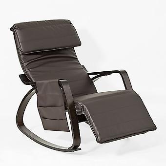 SoBuy-PU-Leder Schwingstuhl Lounge mit verstellbare Fußstütze, FST20-BR