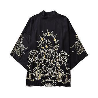 Giapponese Thin Streetwear Tradizionale Cardigan Samurai Obi Kimono