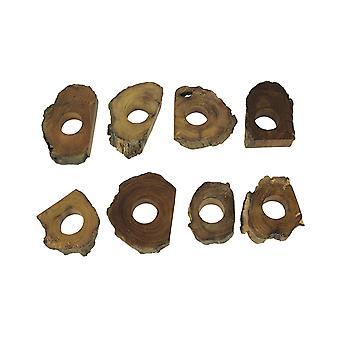 8手作りの天然アカシアウッドスライスナプキンリングのセット