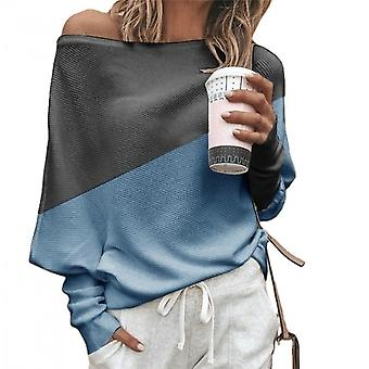 Sweater Long-sleeved T-shirt Loose Plus Size Women's Stitching Blue