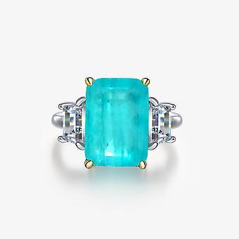 Sea Blue Sapphire Women Silver Ring
