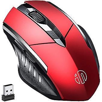 Vezeték nélküli egér,újratölthető 2,4g Usb optikai ergonomikus gaming egér nano vevő, 3 szint piros
