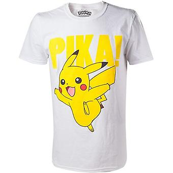 Pokemon Pikachu Pika Raised Print Mens T-Shirt Small White Model. TS408066POK-S