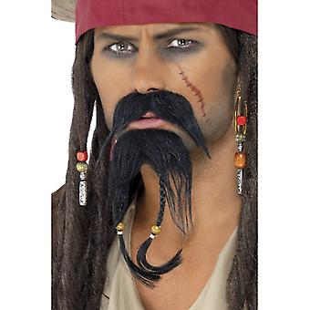 Pirat skjegg sett 2 stykker med braids Jack Sparrow pirat skjegg