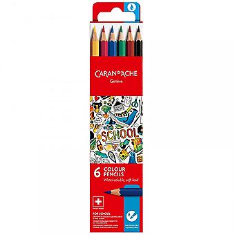 Caran D'Ache Geneve Water-Soluble Colour Pencils 6 Pack *^^