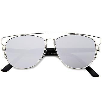 Технологическое цельнометаллическая перекладину флэш-зеркало солнцезащитные очки авиатора плоский объектив 54 мм
