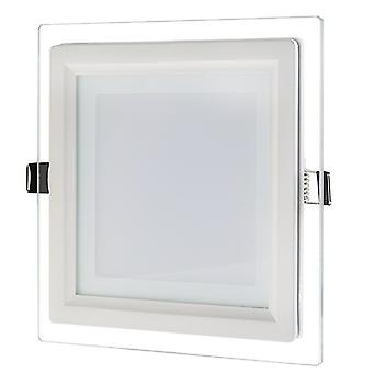I LumoS LED 6 Watt Square Recessed Glass Lighting Panel Slim Ceiling Light