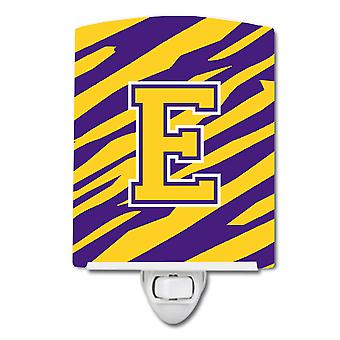 Letter E Monogram - Tiger Stripe - Purple Gold Ceramic Night Light