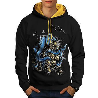 Octopus Horror Monster Men Black (Gold Hood)Contrast Hoodie | Wellcoda