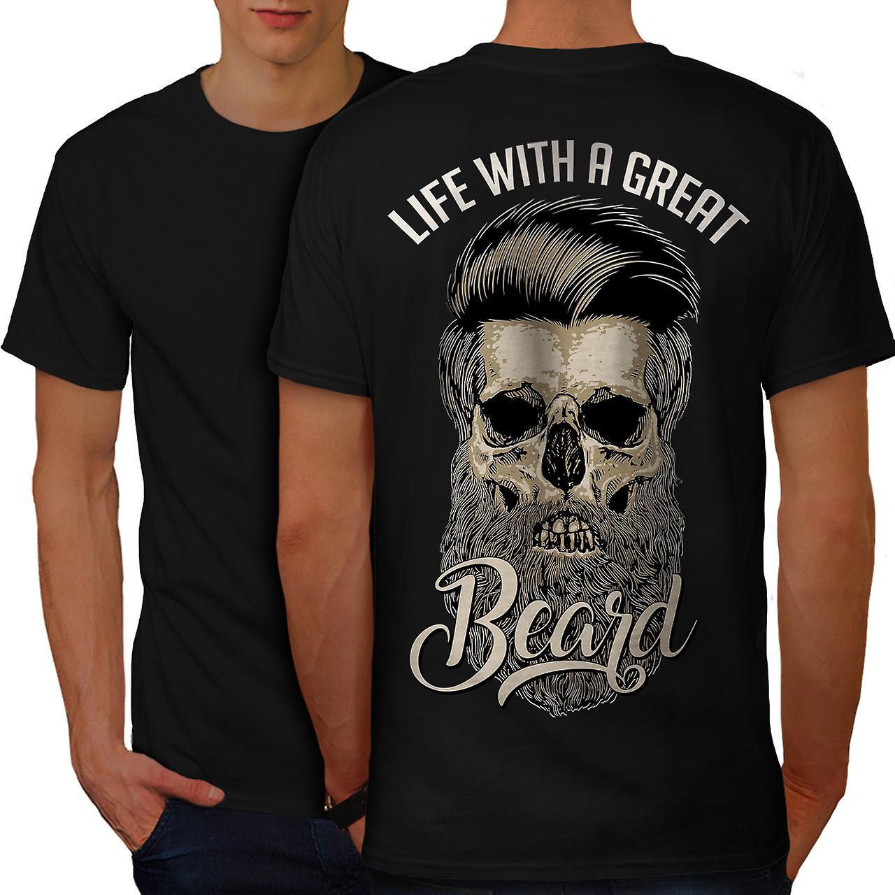 life with beard skull men black t shirt back wellcoda fruugo. Black Bedroom Furniture Sets. Home Design Ideas