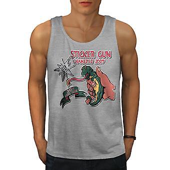 Sticker Gun Joke Men GreyTank Top | Wellcoda