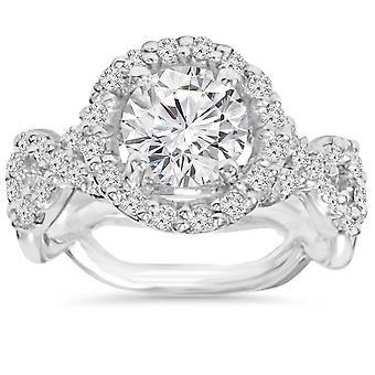 3,00 CT diamante anel de noivado 14K ouro branco