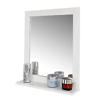 SoBuy Wood Wall Bathroom Mirror with Storage Shelf, FRG129-W