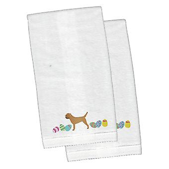 Border Terrier Pâques blanc brodé main peluche serviette lot de 2