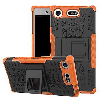 Pezzo di ibrido caso 2 SWL robot arancione per Sony Xperia XZ1 compatto / mini sacchetto custodia cover per la protezione