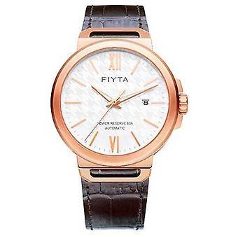 FIYTA Solo Automatic Brown Leather White Dial Sapphire GA852000.PWK Watch