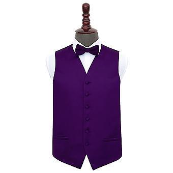 Colete de casamento cetim roxo liso & conjunto de gravata borboleta