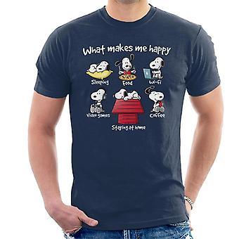 Snoopy, quedarse en casa que Me hace camiseta feliz hombres