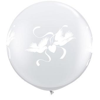 Qualatex 3 fot klart Love duvor Latex ballong (förpackning med 2)