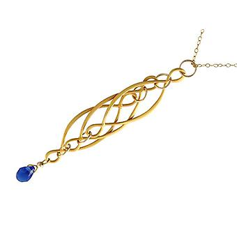 Iolithkette gemstone chain women's Iolite necklace gold plated blue