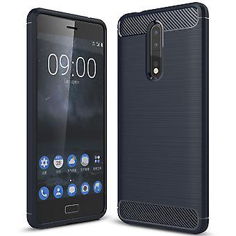 Nokia 8 TPU asia carbon fiber optiikka harjattu suojaava operaatio sininen
