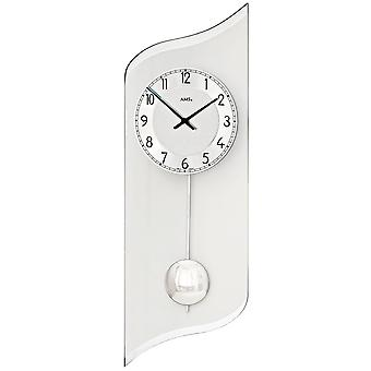 Wall clock quartz with pendulum silver pendulum clock with aluminum and glass