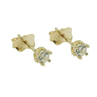 Plug 4mm cubic zirconia 9Kt GOLD