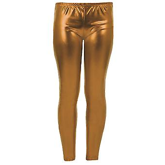 Flickor Unge Metallic Shiny Barn Wet Look Footless Party Disco Pants Leggings