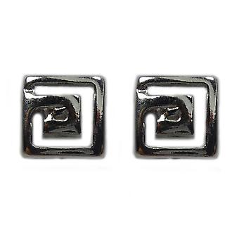 Sterling Silber Rhodium plattiert griechischen Meandros Schlüssel Ohrstecker, 5 x 5mm