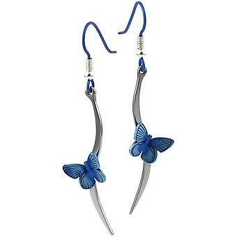 Ti2 Titanium Woodland Butterfly Stem Drop Earrings - Blue