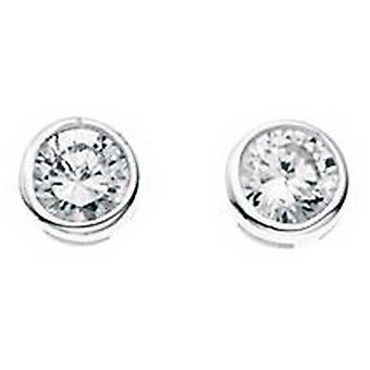Beginnings Cubic Zirconia Small Round Stud Earrings - Silver/Clear