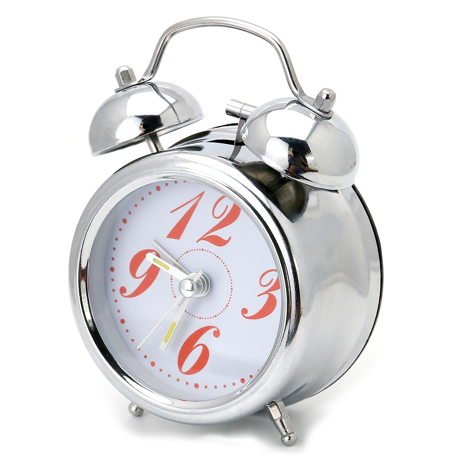 TRIXES Classic Compact Silver Chrome Effect Alarm Clock