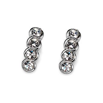 Oliver Weber Post Earring Four Rhodium Crystal