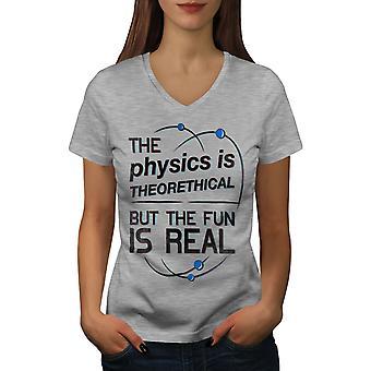 The Fun Is Real Women GreyV-Neck T-shirt | Wellcoda