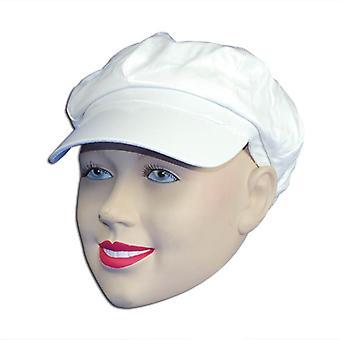 Glanzend witte Pvc-hoed.
