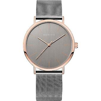 Bering Classic Rose Gold Stainless Steel Grey Milanese Strap Mens Watch 13436-369 36mm