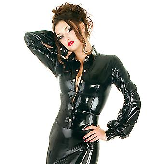 Honour Women's Sexy Fitted Shirt Bishop Longsleeves Top in Rubber Black