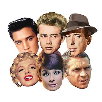 Hollywood Party Card Fancy Dress Masker Classic Set of 6 (Audrey Hepburn, Marilyn Monroe, Elvis, Humphrey Bogart, James Dean og Steve McQueen)
