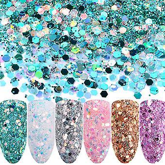 6pcs nail Glitter Mix-Rainbow