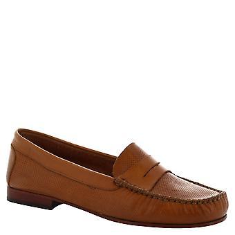 Leonardo schoenen vrouwen handgemaakte slip-on instappers in opengewerkte bruin kalfsleder