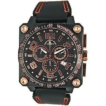 Zeno-horloge heren horloge quartz 3 chronograaf tachymeter zwart 90240Q-BRG-d6