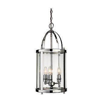 Erstlicht-3 Light Round Ceiling Pendant Lantern Chrome-8301CH