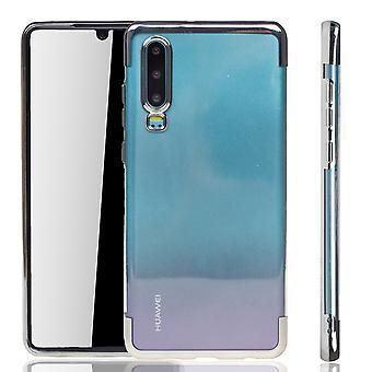 Obudowa na telefon do Huawei P30 Silver - Clear - TPU Silikonowa obudowa Ochronna w przezroczystej / błyszczącej krawędzi srebrnej